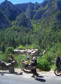 Motorcyclists in the Tarn gorges near to our pension